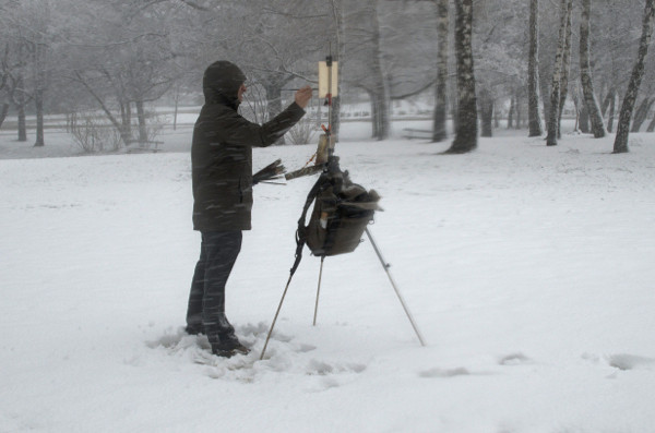 Winter gear for plein air painting marc dalessio - Minimum temperature for painting ...