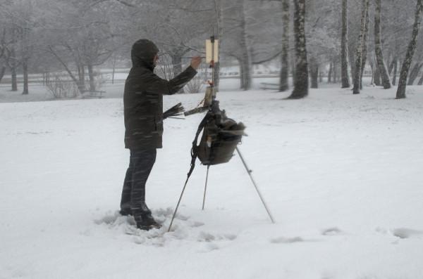 Winter gear for plein air painting marc dalessio - Exterior painting temperature minimum ...